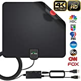 HDTV Antenna, 2019 Newest Indoor Digital TV Antenna 130 Miles Range with Amplifier Signal Booster 4K HD VHF UHF Freeview for Life Local Channels Support All Television -16.5ft Coax Cable (130 Miles)