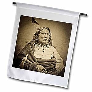 Scenes from the Past Vintage Stereoview - Ponca Chief Yankton Dakota Territory circa 1870s Sepia - 12 x 18 inch Garden Flag (fl_97721_1)