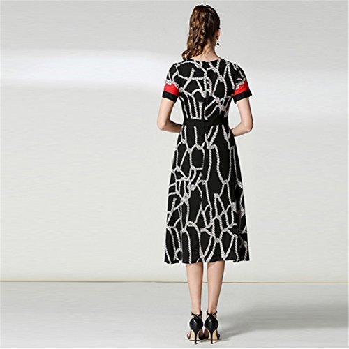 corta estiva cocktail Manica Mostrato divisa da Come Dress Manica Vintage Abito corta Donna Retro Stampa FuweiEncore w7ztO48qw