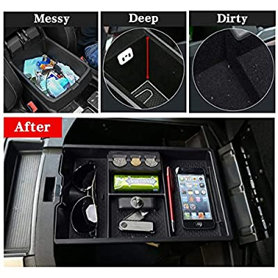Jaronx for Dodge RAM Center Console Organizer, Console Storage Box for Dodge RAM 1500 (2009-2020) and RAM 2500/3500 (2010-2020),Armrest Organizer Tray + Coin Holder (Full Console w/Bucket Seats ONLY): Automotive