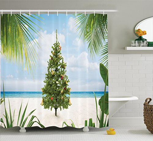 Christmas Decorations Shower Curtain Set by Ambesonne, Xmas Tree with Tinsel and Ornaments on Tropical Island Sandy Beach Party, Bathroom Accessories, 84 Inches Extralong, Green Blue Cream Island Christmas Tree