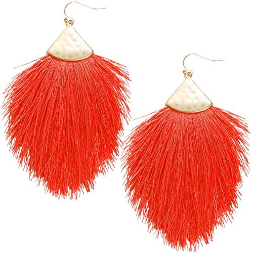 Humble Chic Fringe Tassel Statement Dangle Earrings - Lightweight Long Feather Drops, Bright Coral, Gold-Tone, Neon Hot Pink, Red
