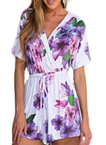 C2U Women Sexy V-neck Violet Floral Print Short Sleeve Jumpsuit Romper Playsuit