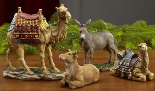 Queens of Christmas TK-NAT-10-ANM 4 Piece Animals Collection Real Life Nativity Figurine, 10'' by Queens of Christmas