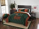 3pc NCAA University Miami Hurricanes Comforter Full/Queen Set, Team Logo, Team Spirit, Sports Patterned Bedding, College Football Themed, Green Orange, Fan Merchandise