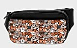 Lunarable Animals Bumbag, Domestic Cat Dog Pattern, Fanny Pack Hip Waist Bag