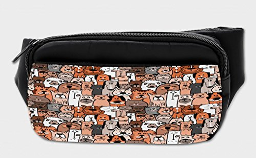 Lunarable Animals Bumbag, Domestic Cat Dog Pattern, Fanny Pack Hip Waist Bag by Lunarable