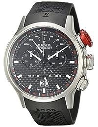 EDOX Men's 38001 Tin NIN Chronorally Analog Display Swiss Quartz Black Watch
