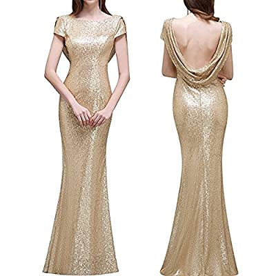 1920s Dress Vintage Long Prom Flapper Sequins Beaded Party V Neck Back Evening Gowns