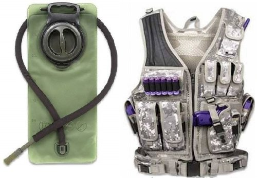 Acu Body Armor - Ultimate Arms Gear ACU Army Digital Camo Tactical Paintball Airsoft Battle Gear Tank-Armor Pod Vest + 2.5 Liter Hydration Backpack Water Bladder Reservoir - Includes Hosing And Hands Free Bite Valve