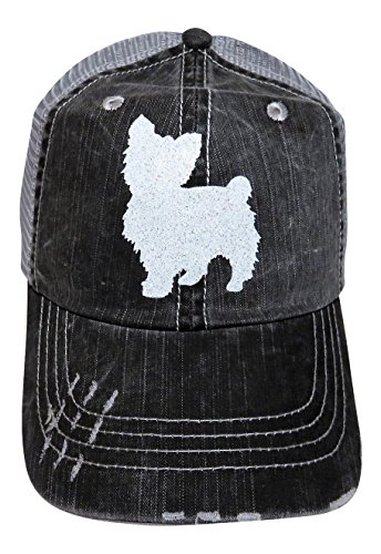 White Glitter Dog Breed Series Grey Trucker Baseball Cap Pet ()