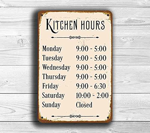 CELYCASY Cartel de Cocina con Texto en inglés Kitchen Hours ...