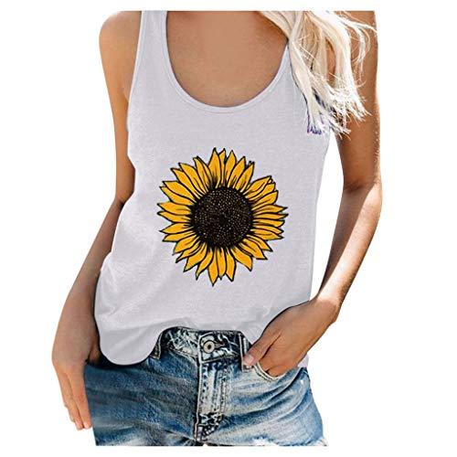 FRAUIT Tanktop voor dames, zonnebloem, grafische letterprint, tops, losse mouwloze blouse, ronde hals, zomer, casual, T…