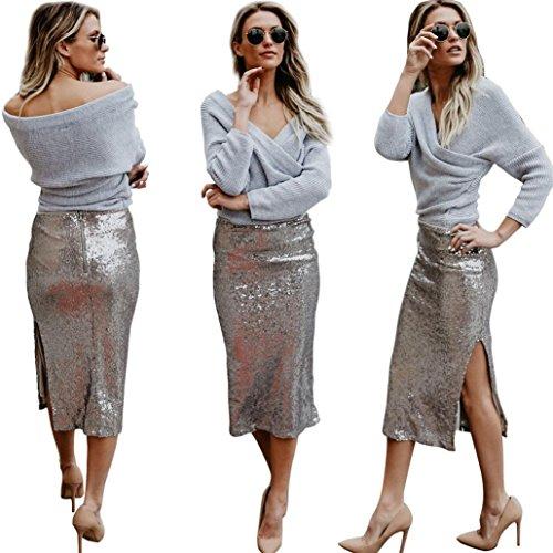 Gothic Clothing Store (OcEaN Women Elegant Skirt, Womens Sequins Fashion Elegant Skirt Cool High Waist Side Split Solid Color Long Skirt (XL, Silver))