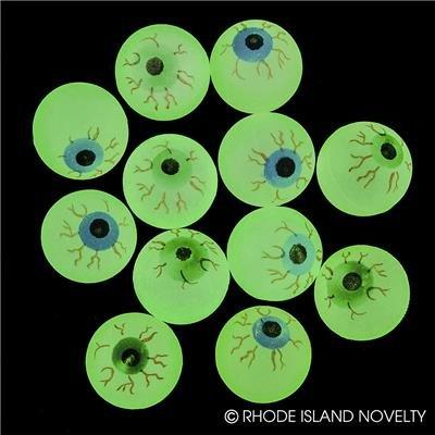 Rhode Island Novelty 32mm 1.25 Inch Glow in The Dark Halloween Eye Balls Pack of 72: Toys & Games