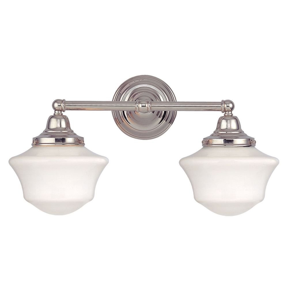Schoolhouse bathroom light with two lights in polished nickel schoolhouse bathroom light with two lights in polished nickel vanity lighting fixtures amazon aloadofball