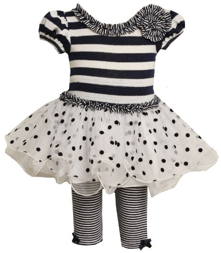 Bonnie Baby Girls' Knit Bodice Tulle Skirt and Stripe Knit Capri Set