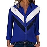Blouses For Womens,HOT SALE!!Farjing Womens Casual Long Sleeve Color Block Stripes Button Down Shirts Tops Blouse (L,Blue )