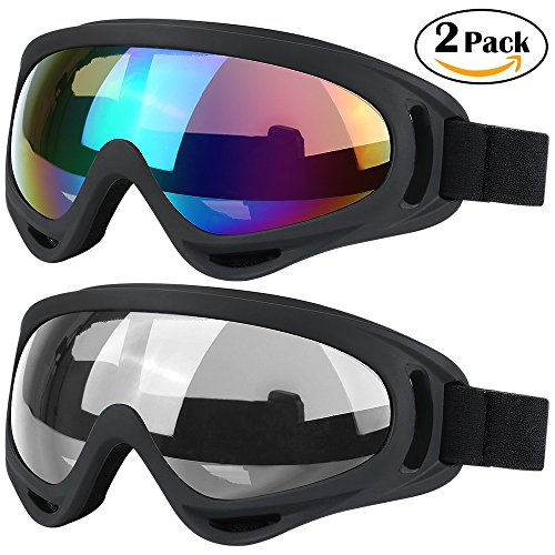 Bicycle Ski (Ski Goggles, 2 Pack Snowboard Goggles Skate Glasses, Motorcycle Cycling Goggles for Kids, Boys & Girls, Youth, Men & Women, with UV 400 Protection, Wind Resistance, Anti-Glare Lenses)