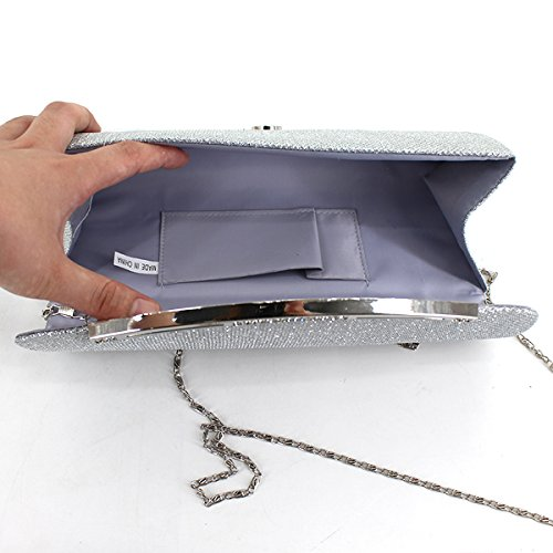 Evening Shoulder Purse Bag Chain Bag Silver Heidi Glitter Wedding Clutch Sequin Bag Ball Prom Clutch IwWT7Xq