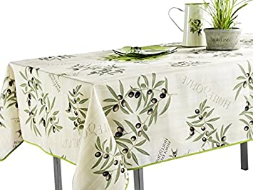 Superbe 60 X 95 Oblong Tablecloth White And Green Olive Branch, Stain Resistant,  Washable,