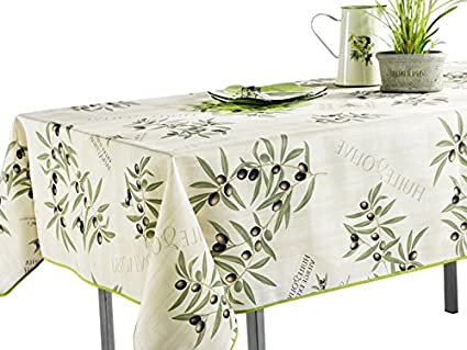 60 X 120 Inch Tablecloth White And Green Olive Branch, Stain Resistant,  Washable