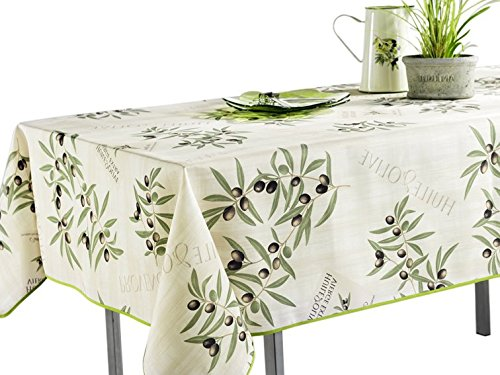 60 x 120-Inch Tablecloth White and Green Olive Branch, Stain Resistant, Washable, Liquid Spills bead up, Seats 10 to 12 People (Other Size: 63-Inch Round, 60x80-Inch, (Olive Round Beads)