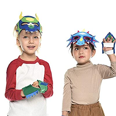 iROLEWIN Kids Felt Dragon Masks for Boys Girls Dinosaur Party Dress Up Costume,12 Pak (Flying Dragon): Clothing