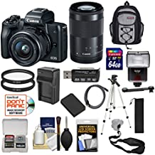 Canon EOS M50 Wi-Fi Digital ILC Camera & EF-M 15-45mm & 55-200mm IS STM Lens (Black) with 64GB Card + Battery + Charger + Flash + Tripod + Cases + Cleaning Kit