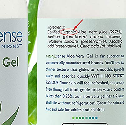 NaturSense Organic Aloe Vera Gel Great for Face, Hair, Sunburn Relief, Parched Summer Skin, Acne, Razor Bumps, Psoriasis, Eczema, Overall Hydration - 12 oz.