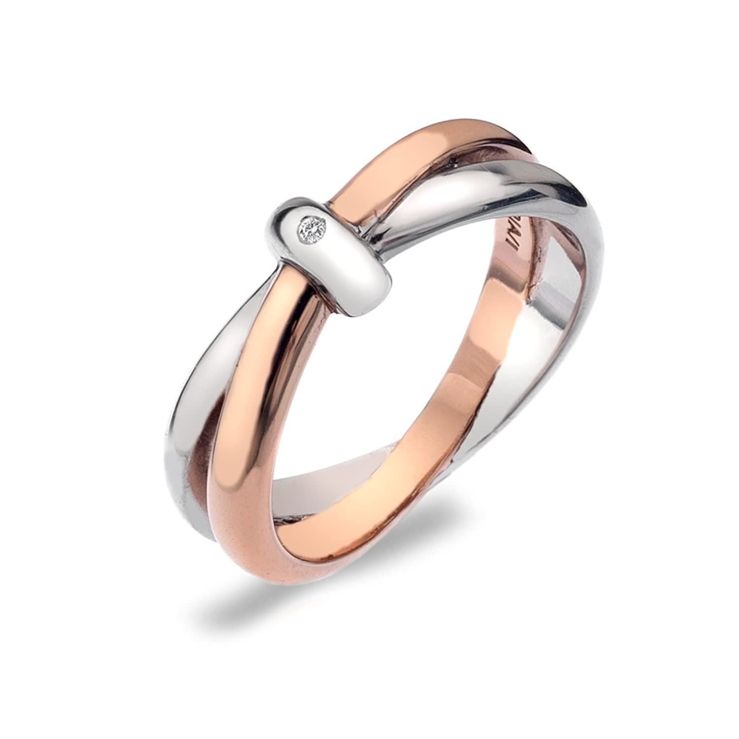 Hot Diamonds Silver and 18ct Rose Gold Plated Eternity Interlocking
