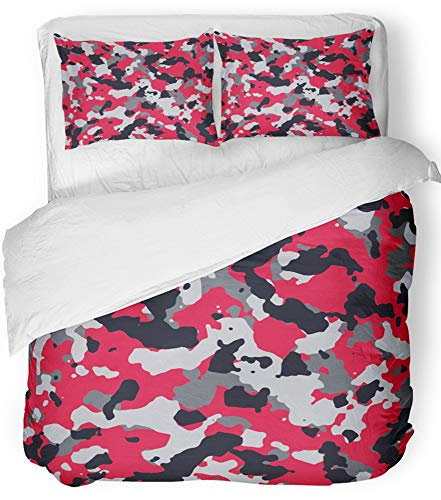 - Emvency 3 Piece Duvet Cover Set Breathable Brushed Microfiber Fabric Navy Army Red and Gray Camo Pattern Camouflage Military Abstract Camoflage Bedding Set with 2 Pillow Covers Full/Queen Size