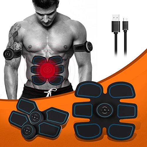 UNOSEKS Abs Stimulator Muscle Toner, Abdominal Toning Belt, USB Charging Portable AB Machine, EMS Training Home Office Fitness Equipment for Abdomen/Arm/Leg Training Men Women