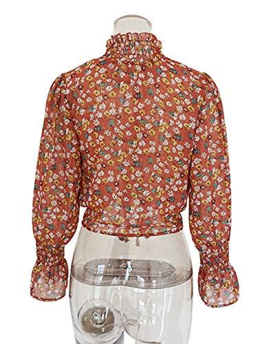 Casual JackenLOVE Hauts Tops Tee Printemps Court Blouse Sleeve Mode Rouge avec Shirts Bandage Flare Imprime Femmes Automne Chemisiers BgYzrWcO8B
