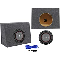 Package: Kicker 43CWR82 8 600W Dual Voice Coil 2-Ohm Car Audio Sub+Single 8 0.44 Cu. Ft. 3/4 MDF Shallow Sub Enclosure Box+Single Enclosure Wire Kit W/14 Gauge Speaker Wire+Screws+Spade Terminals
