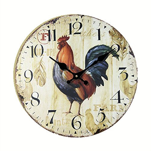 (Eruner Antique Style kitchen Clock, 14-inch *Rooster* Vintage Wood Wall Clock (C-43))