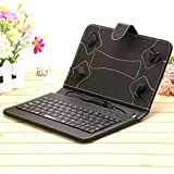 "iRULU 7"" PU Leather Micro USB Keyboard Case With Buttons Stand Cover for Tablet (Black)"
