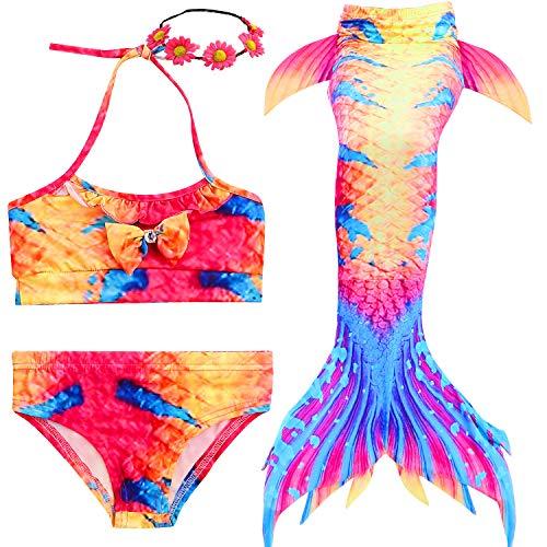(Camlinbo 3Pcs Mermaid Tail for Girls Swimming Swimsuits Princess Bikini Set for Toddler Big Girls Birthday Gift,3-14 Years (Child Small/3T-4T/Tag 110, B-Twilight))
