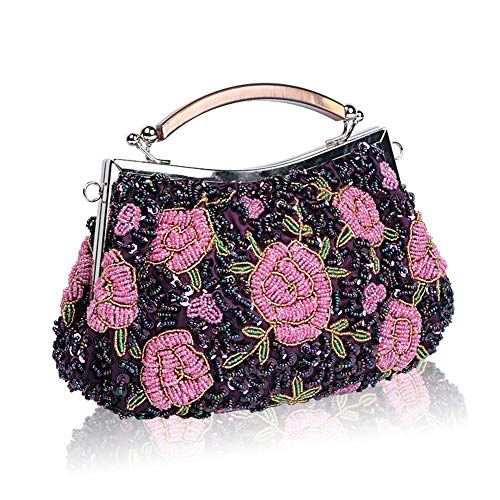Handbag Beaded Glitter Evening Cluth Women Vintage Wedding for Bags Handmade Ball Ladies Sequin Purple Bag Exquisite Bag amp; Party Beads Flora Fadirew Bridal fxSCZq