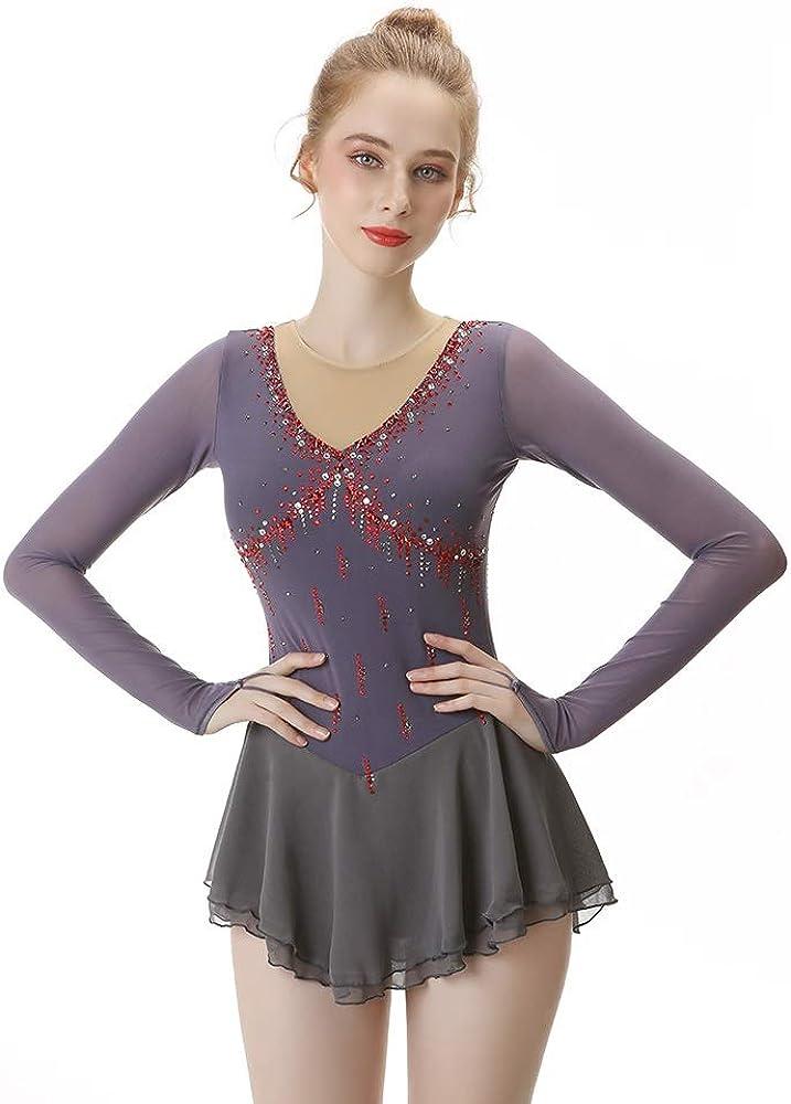 手作りアイススケートドレス用女の子レディースフィギュアスケート競技衣装ラインストーン長袖スケートレオタード A XL
