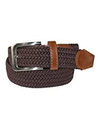 CTM® Men's Elastic Braided Stretch Belt with Silver Buckle and Tan Tabs, XL