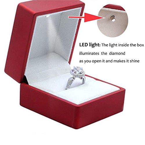 Feiuruhf Luxury Solid Cherry Polish with LED Light Single Engagement Jewelry Ring Box NEW