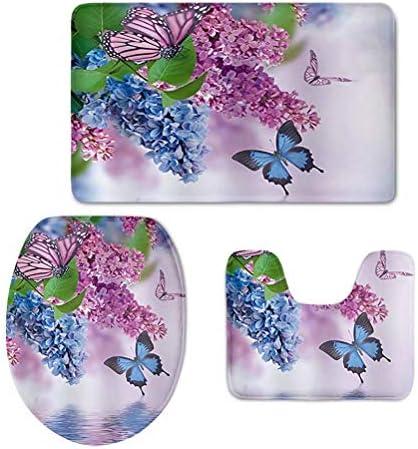chaqlin Butterfly Flannel Retro Soft Washable Bath Rug Set Bathroom Mat Contour Rug Toilet Lid Cover 3 Piece