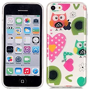 5C Case, iPhone 5C Case, Ngift [Owl Love] Protective Case [Shock Absorbent] Soft Flexible TPU Rubber Flexible Slim Skin Soft Case for Apple iPhone 5C
