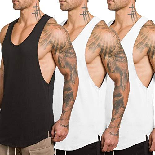 White Training Top T-shirt - ZUEVI Men's Muscular Cut Open Sides Tank Tops Bodybuilding T-Shirts 3 Pack(Black&White&White-XL)