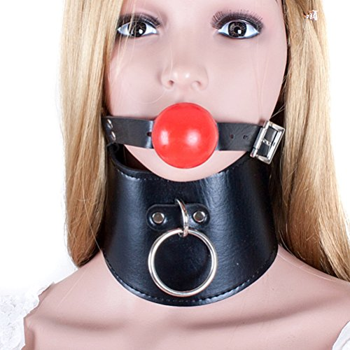 Love Secret Silicone Gag and Sexy Neck Collar with Metal Chain PVC Leather Choker for Couples by ASL