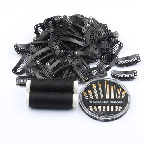 50pcs Wig Clips 32mm Snap Clips For Hair Extension 6-teeth Black Color Hair Extensions Clip with Thread and Needles…