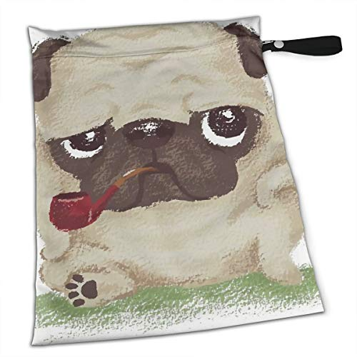 (Funny Ruffian Apricot Pug Cool Tote Travel Accessories Size Happens Reusable Laundry Beach Toddler Dry Bag for Workout Swim Wet Kid Baby Gym Clothes Cloth Diaper Wetbag)