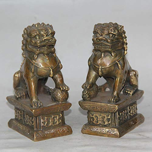 Gpzj A Pair of Collectables Nepalese Buddhism Bronze Statue Foo Dogs Beast Lions Figurine/Gifts/Office/Ornament/Crafts/Home Decorations
