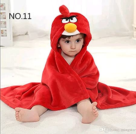 Brandonn Soft Cotton Angry Bird Bathrobe Cum Bath Gown For Babies(Red)